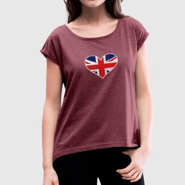 Distressed British Flag Heart - Women's Roll Cuff T-Shirt