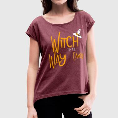 Halloween witch gift - Women's Roll Cuff T-Shirt