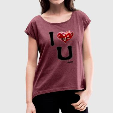 VALENTINES GRAFFITI - Women's Roll Cuff T-Shirt