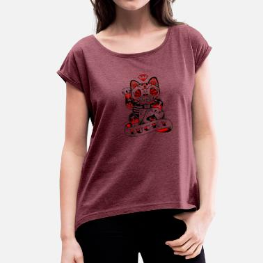 Lucky Cat lucky Zombie Sugar Kitten Cat - Women's Roll Cuff T-Shirt