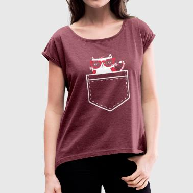 cat pocket - Women's Roll Cuff T-Shirt