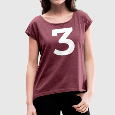 Sports Numbers Sport Number 3 Three - Women's Roll Cuff T-Shirt