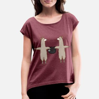 Group Llama And Sloth Team | Funny Alpaca Group Gift - Women's Rolled Sleeve T-Shirt