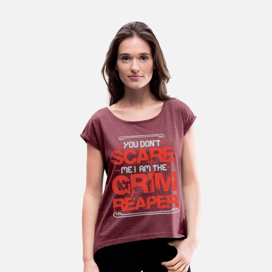 Creepy T-Shirts - Cool I Am The Grim Reaper for Halloween Lovers - Women's Rolled Sleeve T-Shirt heather burgundy