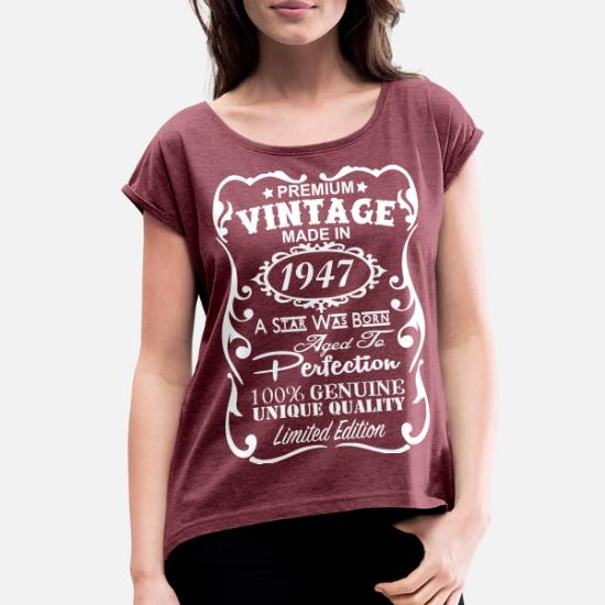 Womens Rolled Sleeve T Shirt70th Birthday Gift Ideas For Women