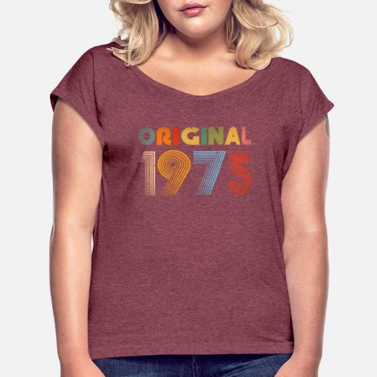 a26ed10c 44th Birthday Vintage 1975 Retro Clothing Gift Tee Women's Rolled ...