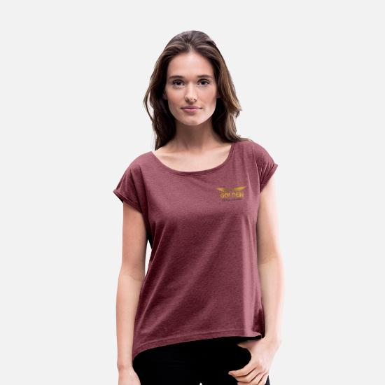 Flight T-Shirts - Golden Aviation Wings - Women's Rolled Sleeve T-Shirt heather burgundy