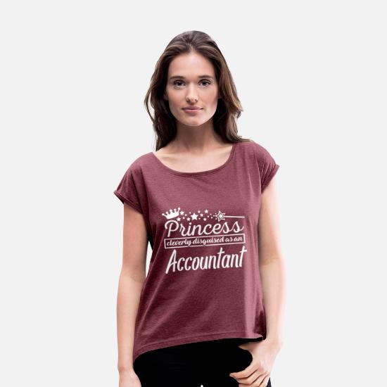 Accounting T-Shirts - Accountant - Women's Rolled Sleeve T-Shirt heather burgundy