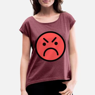 Red Face Smiley Face Red Angry Face - Women's Rolled Sleeve T-Shirt