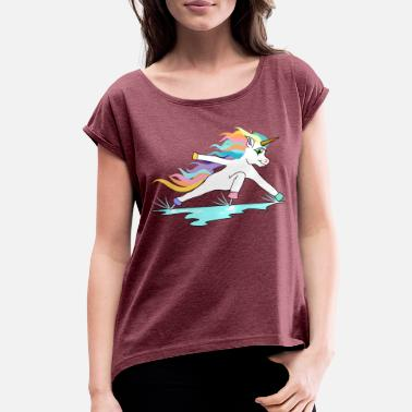 Incline Fast ice skating unicorn in inclined position - Women's Rolled Sleeve T-Shirt