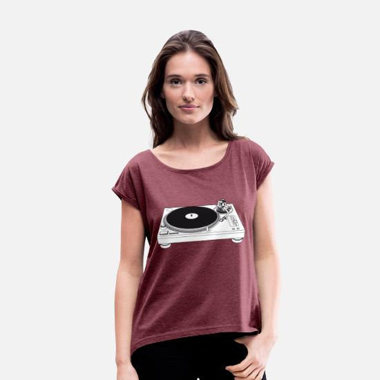 Turn Table T-Shirts - Turntable - Women's Rolled Sleeve T-Shirt heather burgundy