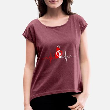 Cat Heart Beat Heart Beat Cat Love - Women's Roll Cuff T-Shirt