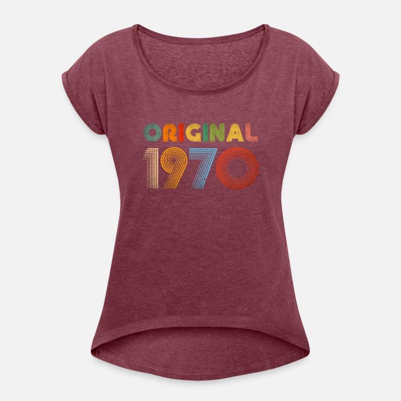 cafc9c01 49th Birthday Vintage 1970 Retro Clothing Gift Tee Women's Roll Cuff  T-Shirt - white