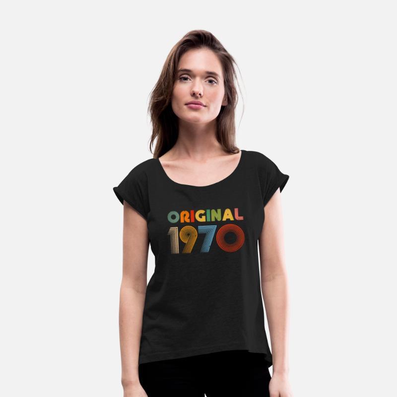 2f0b8c4c 49th Birthday Vintage 1970 Retro Clothing Gift Tee Women's Roll Cuff  T-Shirt - black