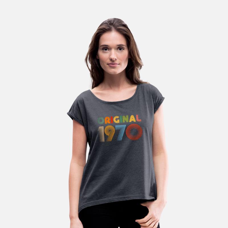 84ecc908 49th Birthday Vintage 1970 Retro Clothing Gift Tee Women's Roll Cuff  T-Shirt - navy heather