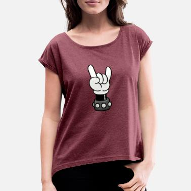 Cool Mickey Mouse Mickey Hand - Rock N Roll - Women's Rolled Sleeve T-Shirt