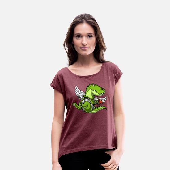 Cute Dinosaur T-Shirts - Cute T-Rex Dinosaur Cupid Valentines Day - Women's Rolled Sleeve T-Shirt heather burgundy