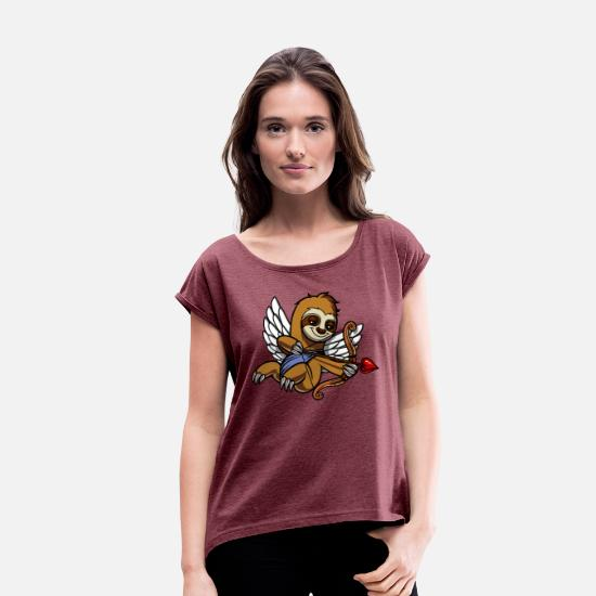 Sloth Lover Gift T-Shirts - Sloth Cupid Valetines Day Cute Animal - Women's Rolled Sleeve T-Shirt heather burgundy