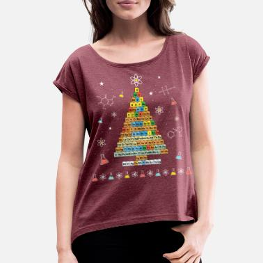 Periodic Table Chemistree Christmas Tree Periodic Table Elements - Women's Rolled Sleeve T-Shirt