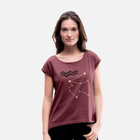 Skies T-Shirts - Astrological zodiac, aquarius - Women's Rolled Sleeve T-Shirt heather burgundy