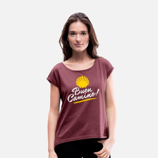 Hiking T-Shirts - Buen Camino | Camino de Santiago | Way of St James - Women's Rolled Sleeve T-Shirt heather burgundy