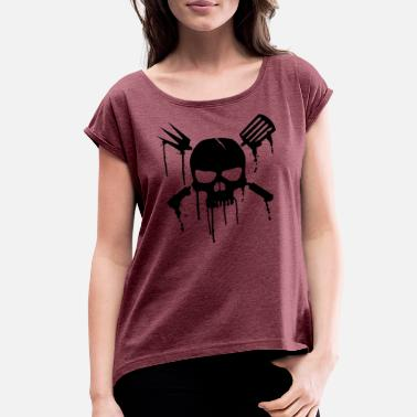 BBQ skull with blood - Women's Rolled Sleeve T-Shirt