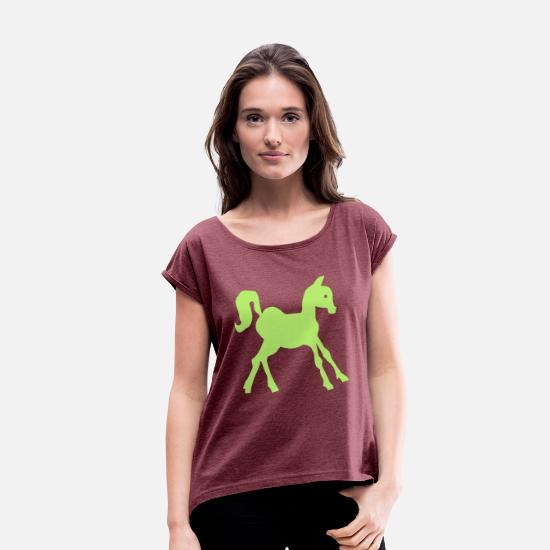 Horse T-Shirts - pony - Women's Rolled Sleeve T-Shirt heather burgundy