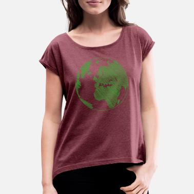Planet Sketched Earth, Planet, Planet B, World, Globe - Women's Rolled Sleeve T-Shirt