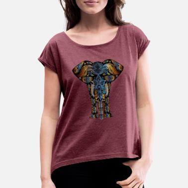 02411e47 Indian Elephant Indian Abstract Elephant - Women's Rolled Sleeve T-Shirt