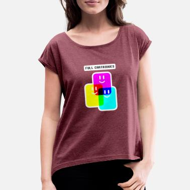 CMYK Full Cartridges - Women's Rolled Sleeve T-Shirt
