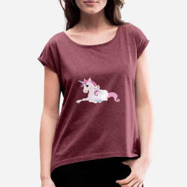 Unicorn Cat Unicorn and Cat - Women's Roll Cuff T-Shirt