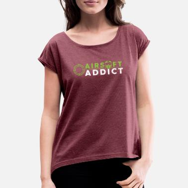 Retro Addict Airsoft Addict User Lover Retro Classic Gift - Women's Roll Cuff T-Shirt