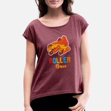 70s Sports Wear Roller Disco Cool Vintage Retro 70s 80s Skate Tee - Women's Roll Cuff T-Shirt