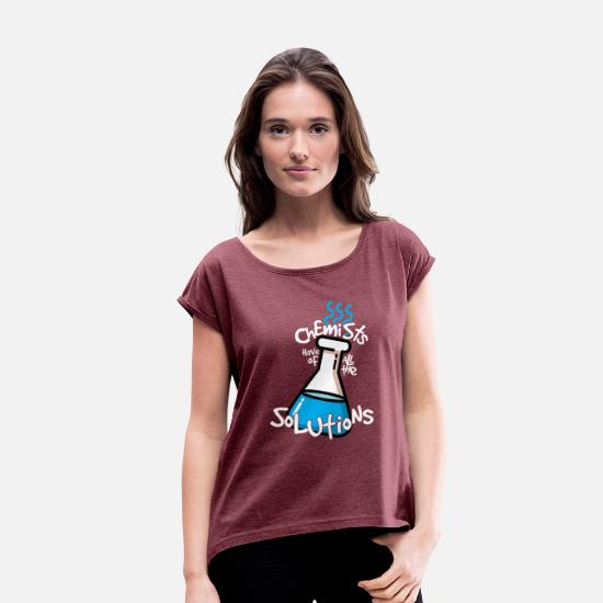 Birthday T-Shirts - Chemist Solutions - Women's Rolled Sleeve T-Shirt heather burgundy