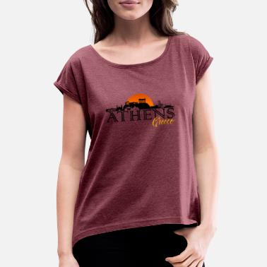 Athens City Athens, Greece City Skyline - Women's Rolled Sleeve T-Shirt