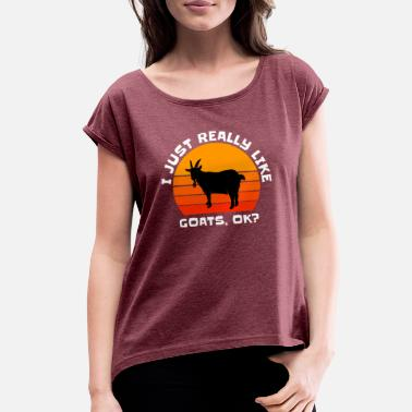 Goat Funny Goat Just Really Like Goats Farmer Retro - Women's Rolled Sleeve T-Shirt