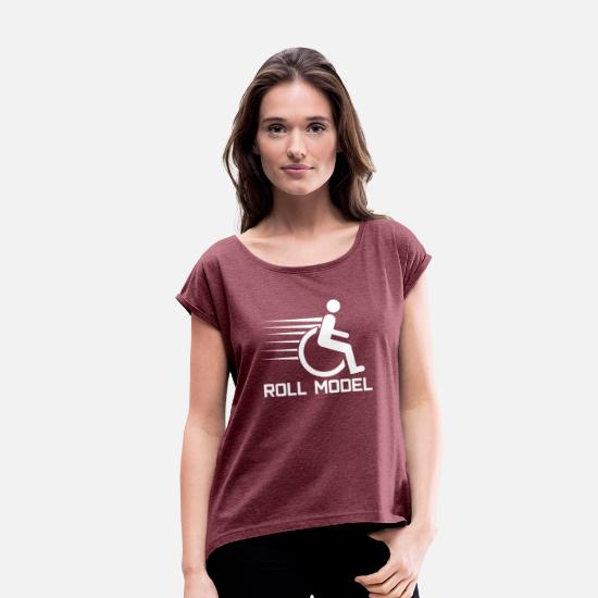 Wheelchair T-Shirts - PWD Disabled Wheelchair - Women's Rolled Sleeve T-Shirt heather burgundy