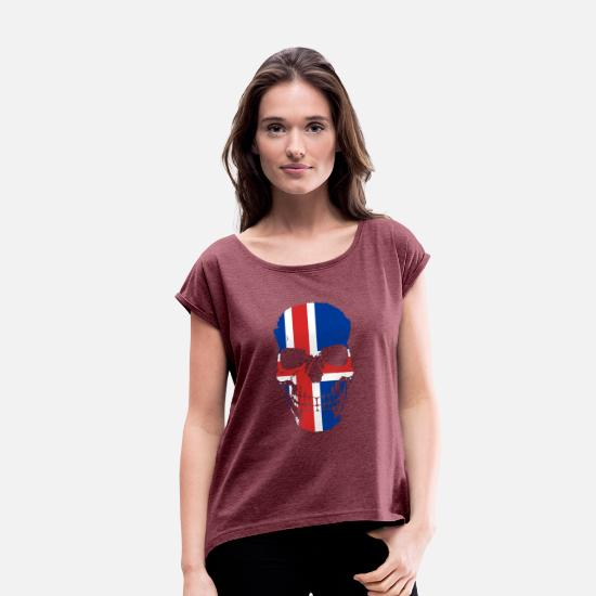 Country T-Shirts - Iceland Flag Icelandic Skull - Women's Rolled Sleeve T-Shirt heather burgundy
