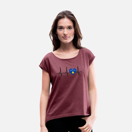 Love T-Shirts - I LOVE ekg heartbeat Kosovo balkan kosovar - Women's Rolled Sleeve T-Shirt heather burgundy