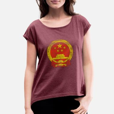 Half Chinese Half American Pride Chinese Coat of Arms China Symbol - Women's Roll Cuff T-Shirt
