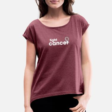 Lung Cancer Ribbon Fight Lung Cancer - White Ribbon Tee - Women's Rolled Sleeve T-Shirt