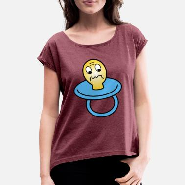 Looks Sad sad looking dummy - Women's Roll Cuff T-Shirt