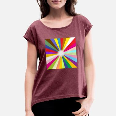 Bright Ray Background - Women's Rolled Sleeve T-Shirt