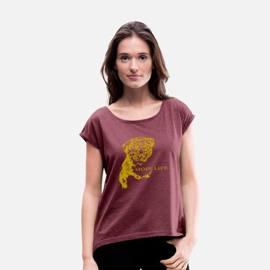 Bambino T-Shirts - mops gold - Women's Rolled Sleeve T-Shirt heather burgundy