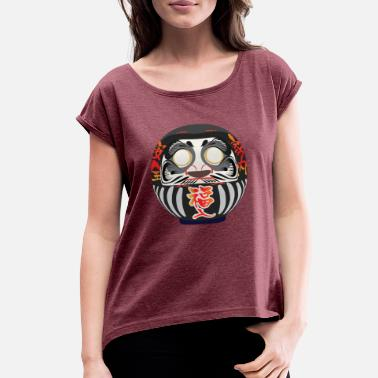 Shibuya Daruma, a symbol of perseverance and good luck - Women's Roll Cuff T-Shirt