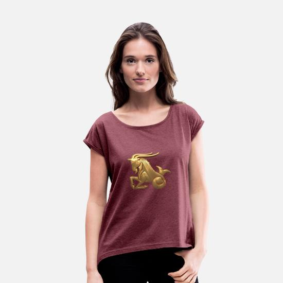 Signs T-Shirts - ZODIAC SIGN CAPRICORN GOLD - Women's Rolled Sleeve T-Shirt heather burgundy