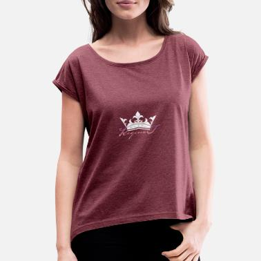 Name with White Crown - Women's Rolled Sleeve T-Shirt