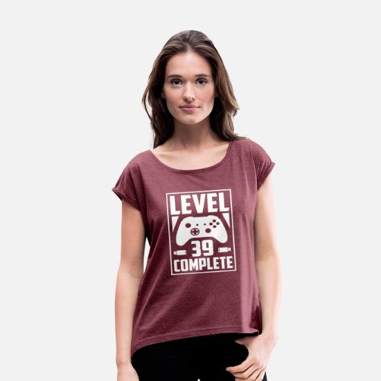 Level T-Shirts - Level 39 Complete - Women's Rolled Sleeve T-Shirt heather burgundy