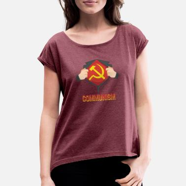 Ussr Communism Communism Superhero Hammer Sickle Red USSR - Gift - Women's Rolled Sleeve T-Shirt