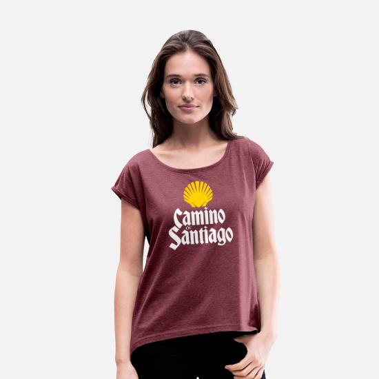 Hiking T-Shirts - Camino de Santiago | Way of St James | Saint James - Women's Rolled Sleeve T-Shirt heather burgundy